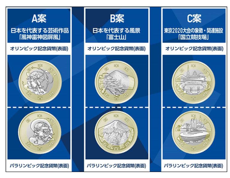 500円記念硬貨の3つの案